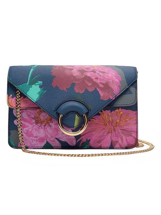 Daisy Accordion Bag Gerber Daisy - secondary colour: hot pink; predominant colour: navy; occasions: casual, creative work; type of pattern: heavy; style: shoulder; length: across body/long; size: small; material: leather; pattern: florals; finish: plain; embellishment: chain/metal; multicoloured: multicoloured; season: s/s 2016; wardrobe: highlight