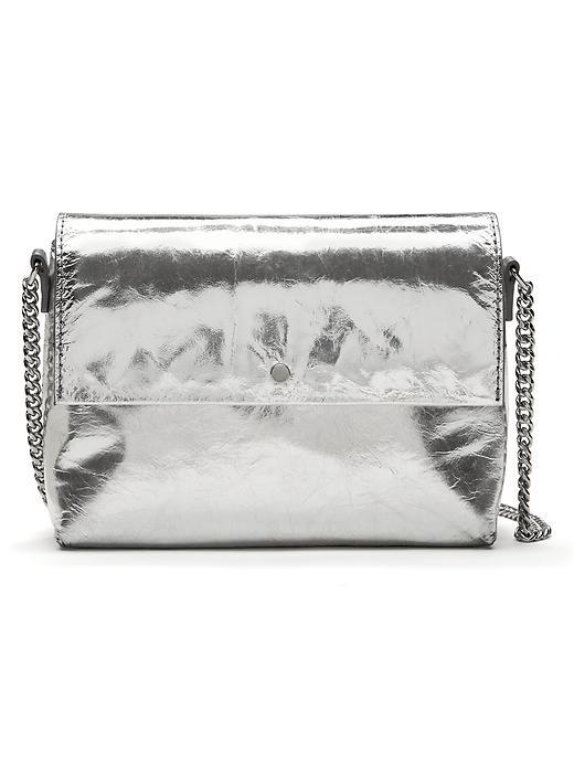 Silver Italian Leather Zip Pouch Silver - predominant colour: silver; occasions: evening, occasion; type of pattern: standard; style: clutch; length: hand carry; size: small; material: leather; pattern: plain; finish: metallic; season: s/s 2016; wardrobe: event