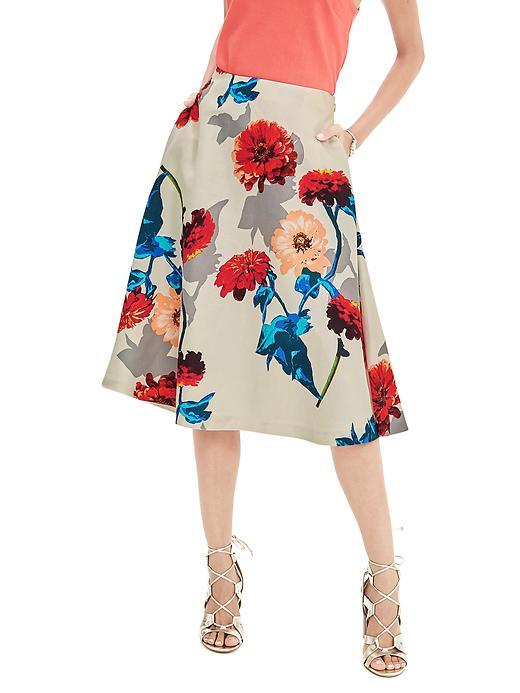 Gerber Daisy Midi Skirt Cocoon - length: below the knee; style: full/prom skirt; fit: loose/voluminous; hip detail: side pockets at hip; waist: mid/regular rise; secondary colour: coral; predominant colour: stone; occasions: evening, occasion, creative work; pattern type: fabric; pattern: florals; texture group: woven light midweight; fibres: viscose/rayon - mix; pattern size: big & busy (bottom); multicoloured: multicoloured; season: s/s 2016