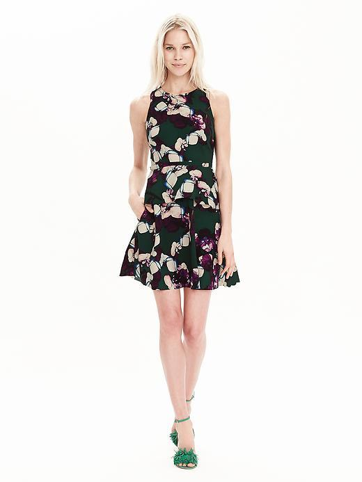 Floral Peplum Dress Deep Hunter - neckline: round neck; sleeve style: sleeveless; waist detail: peplum waist detail; secondary colour: ivory/cream; predominant colour: black; occasions: casual, creative work; length: just above the knee; fit: fitted at waist & bust; style: fit & flare; fibres: polyester/polyamide - 100%; sleeve length: sleeveless; pattern type: fabric; pattern size: big & busy; pattern: florals; texture group: other - light to midweight; season: s/s 2016; wardrobe: highlight