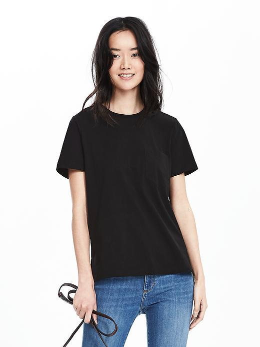 Cotton Pocket Tee Br Black - pattern: plain; style: t-shirt; predominant colour: white; occasions: casual; length: standard; fibres: cotton - stretch; fit: loose; neckline: crew; sleeve length: short sleeve; sleeve style: standard; pattern type: fabric; texture group: jersey - stretchy/drapey; season: s/s 2016; wardrobe: basic
