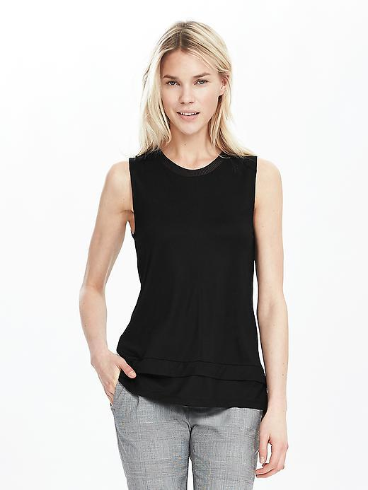Rib Trim Tank Black - pattern: plain; sleeve style: sleeveless; predominant colour: black; occasions: casual, creative work; length: standard; style: top; fibres: viscose/rayon - 100%; fit: straight cut; neckline: crew; sleeve length: sleeveless; pattern type: fabric; texture group: jersey - stretchy/drapey; season: s/s 2016; wardrobe: basic