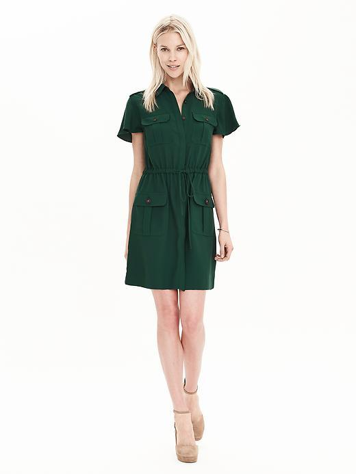 Soft Utility Shirtdress Deep Hunter - style: shirt; neckline: shirt collar/peter pan/zip with opening; pattern: plain; waist detail: belted waist/tie at waist/drawstring; predominant colour: dark green; occasions: casual; length: just above the knee; fit: body skimming; fibres: polyester/polyamide - 100%; sleeve length: short sleeve; sleeve style: standard; pattern type: fabric; texture group: other - light to midweight; season: s/s 2016; wardrobe: highlight
