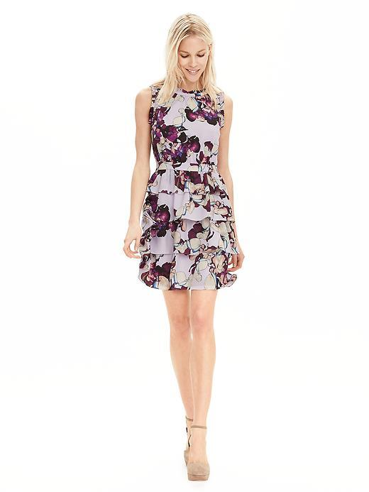 Floral Ruffle Dress Lilac Blush - style: shift; length: mid thigh; neckline: round neck; fit: fitted at waist; sleeve style: sleeveless; predominant colour: blush; occasions: casual, creative work; fibres: polyester/polyamide - 100%; hip detail: adds bulk at the hips; sleeve length: sleeveless; pattern type: fabric; pattern size: big & busy; pattern: florals; texture group: other - light to midweight; season: s/s 2016; wardrobe: highlight