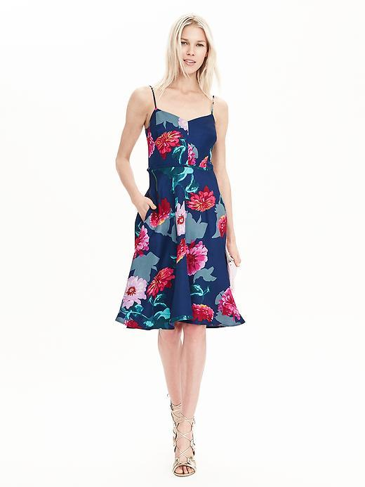 Floral Strappy Dress Pop Pink - neckline: low v-neck; sleeve style: spaghetti straps; secondary colour: true red; predominant colour: royal blue; occasions: evening; length: on the knee; fit: fitted at waist & bust; style: fit & flare; fibres: viscose/rayon - stretch; sleeve length: sleeveless; pattern type: fabric; pattern: florals; texture group: jersey - stretchy/drapey; multicoloured: multicoloured; season: s/s 2016; wardrobe: event