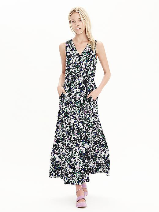 Mixed Floral V Neck Maxi Dress Mixed Floral - neckline: low v-neck; sleeve style: standard vest straps/shoulder straps; style: maxi dress; length: ankle length; secondary colour: white; predominant colour: navy; occasions: evening; fit: fitted at waist & bust; fibres: polyester/polyamide - 100%; sleeve length: sleeveless; texture group: cotton feel fabrics; pattern type: fabric; pattern size: big & busy; pattern: florals; season: s/s 2016; wardrobe: event