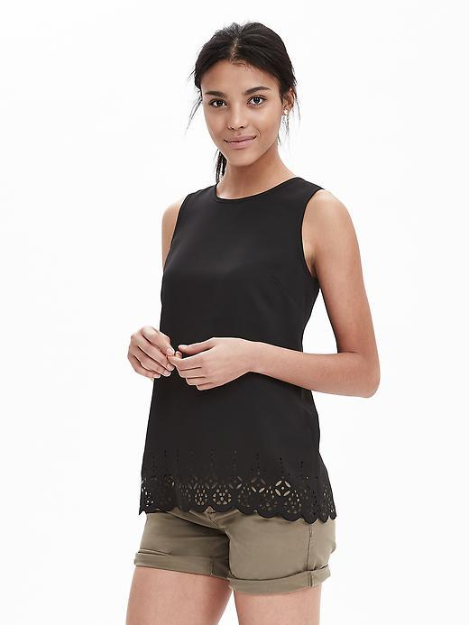 Laser Cut Crepe Tank Black - pattern: plain; sleeve style: sleeveless; predominant colour: black; occasions: casual, creative work; length: standard; style: top; fibres: polyester/polyamide - 100%; fit: straight cut; neckline: crew; sleeve length: sleeveless; texture group: crepes; pattern type: fabric; embellishment: lace; season: s/s 2016; wardrobe: highlight