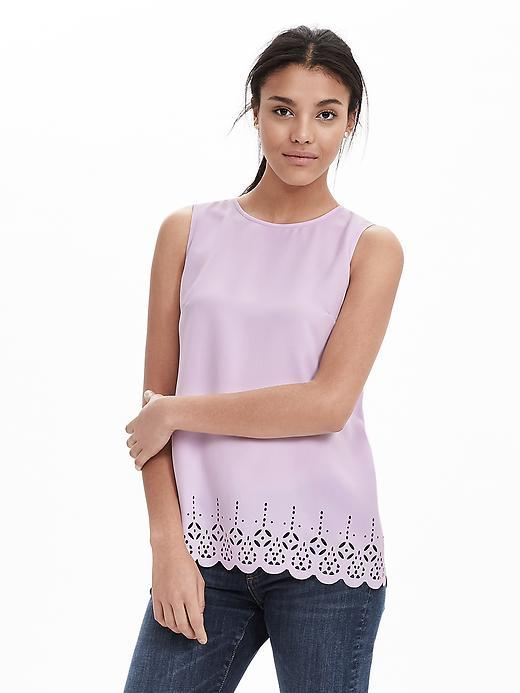 Laser Cut Crepe Tank Lilac - pattern: plain; sleeve style: sleeveless; predominant colour: lilac; occasions: casual, creative work; length: standard; style: top; fibres: polyester/polyamide - 100%; fit: straight cut; neckline: crew; sleeve length: sleeveless; texture group: crepes; pattern type: fabric; season: s/s 2016