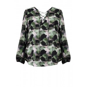 Camo Crepe Lace Up Top - neckline: v-neck; style: blouse; secondary colour: dark green; predominant colour: black; occasions: casual, creative work; length: standard; fibres: polyester/polyamide - stretch; fit: body skimming; sleeve length: long sleeve; sleeve style: standard; texture group: crepes; pattern type: fabric; pattern: patterned/print; pattern size: big & busy (top); season: s/s 2016