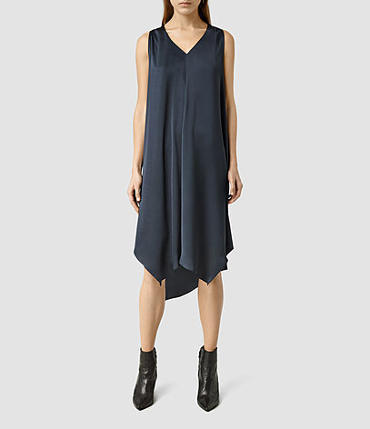 Blaze Dress - length: below the knee; neckline: v-neck; pattern: plain; sleeve style: sleeveless; predominant colour: navy; occasions: evening; fit: body skimming; style: asymmetric (hem); fibres: polyester/polyamide - 100%; sleeve length: sleeveless; pattern type: fabric; texture group: jersey - stretchy/drapey; season: s/s 2016; wardrobe: event