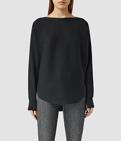 Esia Merino Jumper - neckline: slash/boat neckline; pattern: plain; style: standard; predominant colour: black; occasions: casual, creative work; length: standard; fibres: wool - 100%; fit: loose; back detail: longer hem at back than at front; sleeve length: long sleeve; sleeve style: standard; texture group: knits/crochet; pattern type: knitted - fine stitch; season: s/s 2016; wardrobe: basic
