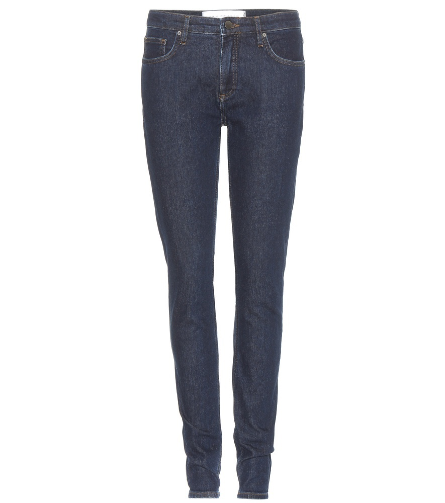 Skinny Jeans - style: skinny leg; length: standard; pattern: plain; pocket detail: traditional 5 pocket; waist: mid/regular rise; predominant colour: navy; occasions: casual; fibres: cotton - stretch; jeans detail: dark wash; texture group: denim; pattern type: fabric; season: s/s 2016; wardrobe: basic
