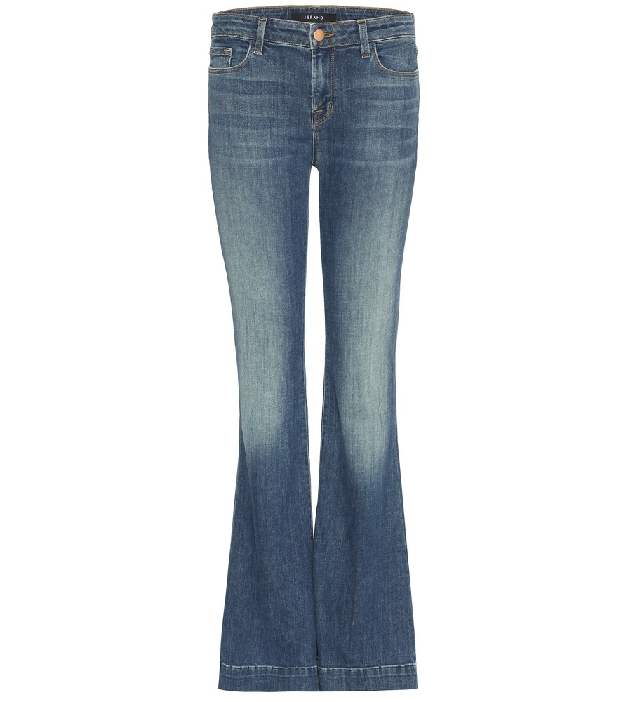 Another Lovestory Flared Jeans - style: flares; length: standard; pattern: plain; pocket detail: traditional 5 pocket; waist: mid/regular rise; predominant colour: denim; occasions: casual; fibres: cotton - stretch; jeans detail: whiskering, shading down centre of thigh; texture group: denim; pattern type: fabric; season: s/s 2016