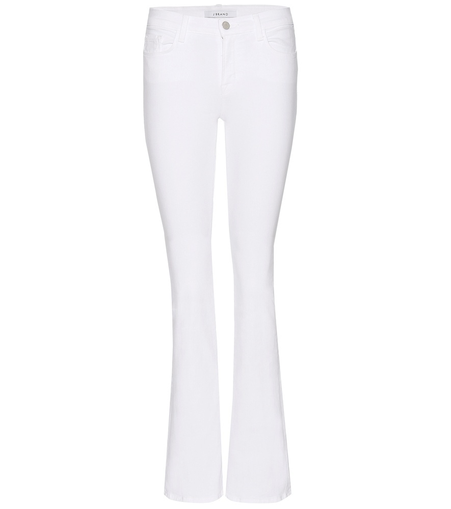 Betty Boot Cut Flared Jeans - style: bootcut; length: standard; pattern: plain; pocket detail: traditional 5 pocket; waist: mid/regular rise; predominant colour: white; occasions: casual; fibres: cotton - stretch; texture group: denim; pattern type: fabric; season: s/s 2016