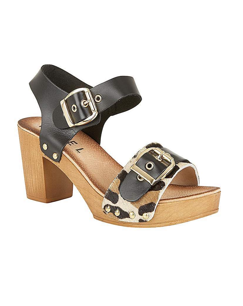 Rutland Ladies Heeled Sandals - secondary colour: camel; predominant colour: black; occasions: casual, creative work; material: leather; heel height: high; embellishment: buckles; ankle detail: ankle strap; heel: block; toe: open toe/peeptoe; style: strappy; finish: plain; pattern: animal print; shoe detail: platform; multicoloured: multicoloured; season: s/s 2016; wardrobe: highlight