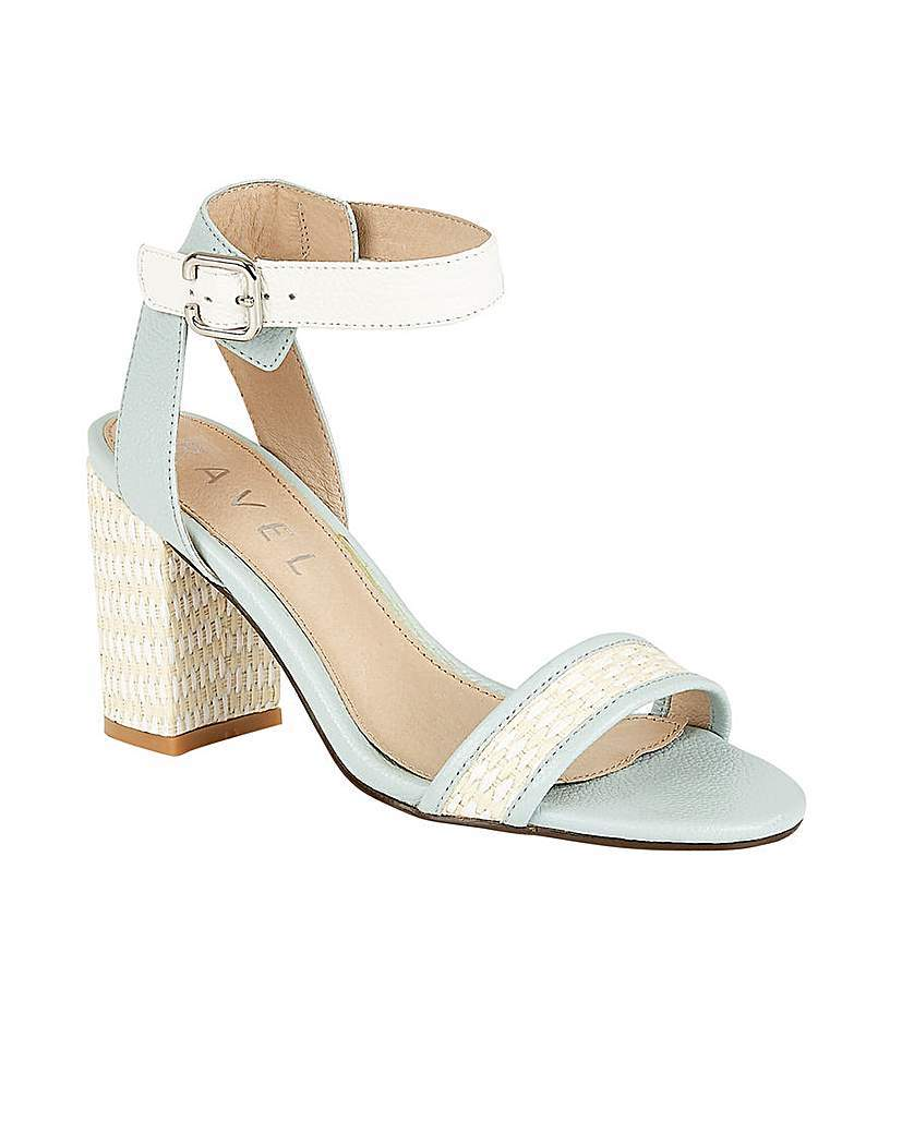 Fairfax Ladies Heeled Sandals - secondary colour: white; predominant colour: pale blue; occasions: casual, creative work; material: leather; heel height: high; ankle detail: ankle strap; heel: block; toe: open toe/peeptoe; style: strappy; finish: plain; pattern: colourblock; season: s/s 2016; wardrobe: highlight