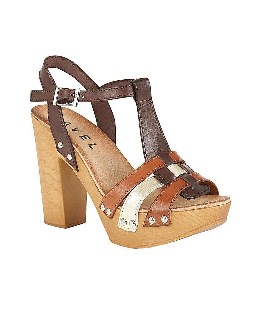 Berwick Ladies Heeled Sandals - predominant colour: chocolate brown; secondary colour: tan; occasions: casual, creative work; material: leather; ankle detail: ankle strap; heel: block; toe: open toe/peeptoe; style: strappy; finish: plain; pattern: colourblock; heel height: very high; shoe detail: platform; multicoloured: multicoloured; season: s/s 2016; wardrobe: highlight