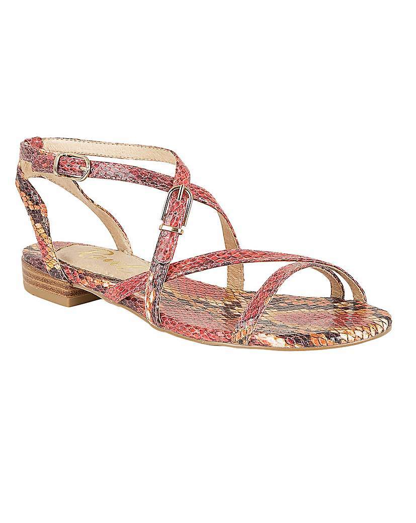 Saratoga Ladies Sandals - predominant colour: coral; occasions: casual, holiday; material: leather; heel height: flat; ankle detail: ankle strap; heel: block; toe: open toe/peeptoe; style: strappy; finish: plain; pattern: patterned/print; multicoloured: multicoloured; season: s/s 2016; wardrobe: highlight