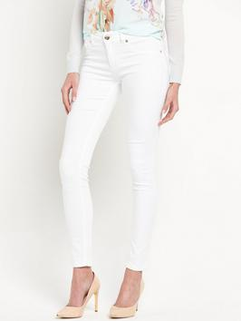 Dienne Skinny Jean - style: skinny leg; pattern: plain; waist: low rise; pocket detail: traditional 5 pocket; predominant colour: white; occasions: casual; length: ankle length; fibres: cotton - stretch; texture group: denim; pattern type: fabric; season: s/s 2016; wardrobe: highlight