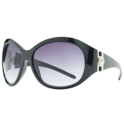 Large Faux Pearl Contrast Oval Sunglasses, Black - predominant colour: black; occasions: casual, holiday; style: round; size: standard; material: plastic/rubber; pattern: plain; finish: plain; season: s/s 2016; wardrobe: basic
