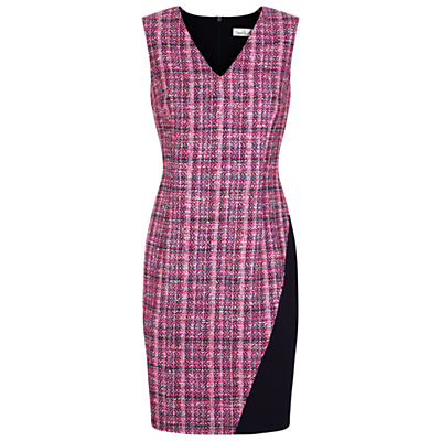 Happy Tweed Dress, Pink/Multi - style: shift; neckline: v-neck; fit: tailored/fitted; sleeve style: sleeveless; pattern: herringbone/tweed; secondary colour: blush; predominant colour: hot pink; occasions: evening; length: just above the knee; fibres: viscose/rayon - stretch; sleeve length: sleeveless; pattern type: fabric; pattern size: big & busy; texture group: woven light midweight; season: s/s 2016; wardrobe: event