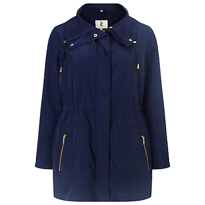 Polina Parka Coat, Navy - pattern: plain; fit: loose; style: parka; back detail: hood; collar: high neck; length: mid thigh; predominant colour: navy; occasions: casual; fibres: polyester/polyamide - 100%; sleeve length: long sleeve; sleeve style: standard; collar break: high; pattern type: fabric; texture group: other - light to midweight; season: s/s 2016; wardrobe: highlight; embellishment location: hip