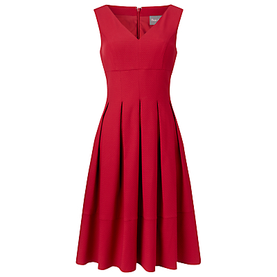 Mary Pintuck Dress, Cherry - neckline: low v-neck; pattern: plain; sleeve style: sleeveless; occasions: evening, occasion; length: on the knee; fit: fitted at waist & bust; style: fit & flare; fibres: polyester/polyamide - stretch; hip detail: adds bulk at the hips; sleeve length: sleeveless; texture group: crepes; pattern type: fabric; predominant colour: raspberry; season: s/s 2016; wardrobe: event
