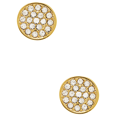 Glass Stone Pave Disc Stud Earrings - predominant colour: gold; occasions: evening, occasion; style: stud; length: short; size: small/fine; material: chain/metal; fastening: pierced; finish: plain; embellishment: crystals/glass; season: s/s 2016