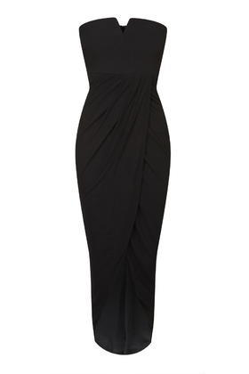 Wrap Bustier Midi Dress By Rare - neckline: strapless (straight/sweetheart); fit: tailored/fitted; pattern: plain; style: maxi dress; sleeve style: strapless; length: ankle length; predominant colour: black; occasions: evening, occasion; fibres: cotton - stretch; sleeve length: sleeveless; pattern type: fabric; texture group: other - light to midweight; season: s/s 2016