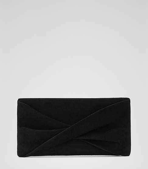 Beau Suede Suede Clutch - predominant colour: black; occasions: evening, occasion; type of pattern: standard; style: clutch; length: hand carry; size: standard; material: satin; pattern: plain; finish: plain; season: s/s 2016; wardrobe: event