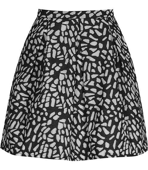 Fray Jacquard Mini Skirt - length: mini; fit: loose/voluminous; waist: high rise; secondary colour: mid grey; predominant colour: black; occasions: casual, creative work; style: a-line; fibres: polyester/polyamide - 100%; hip detail: subtle/flattering hip detail; pattern type: fabric; pattern: patterned/print; texture group: brocade/jacquard; pattern size: big & busy (bottom); season: s/s 2016; wardrobe: highlight
