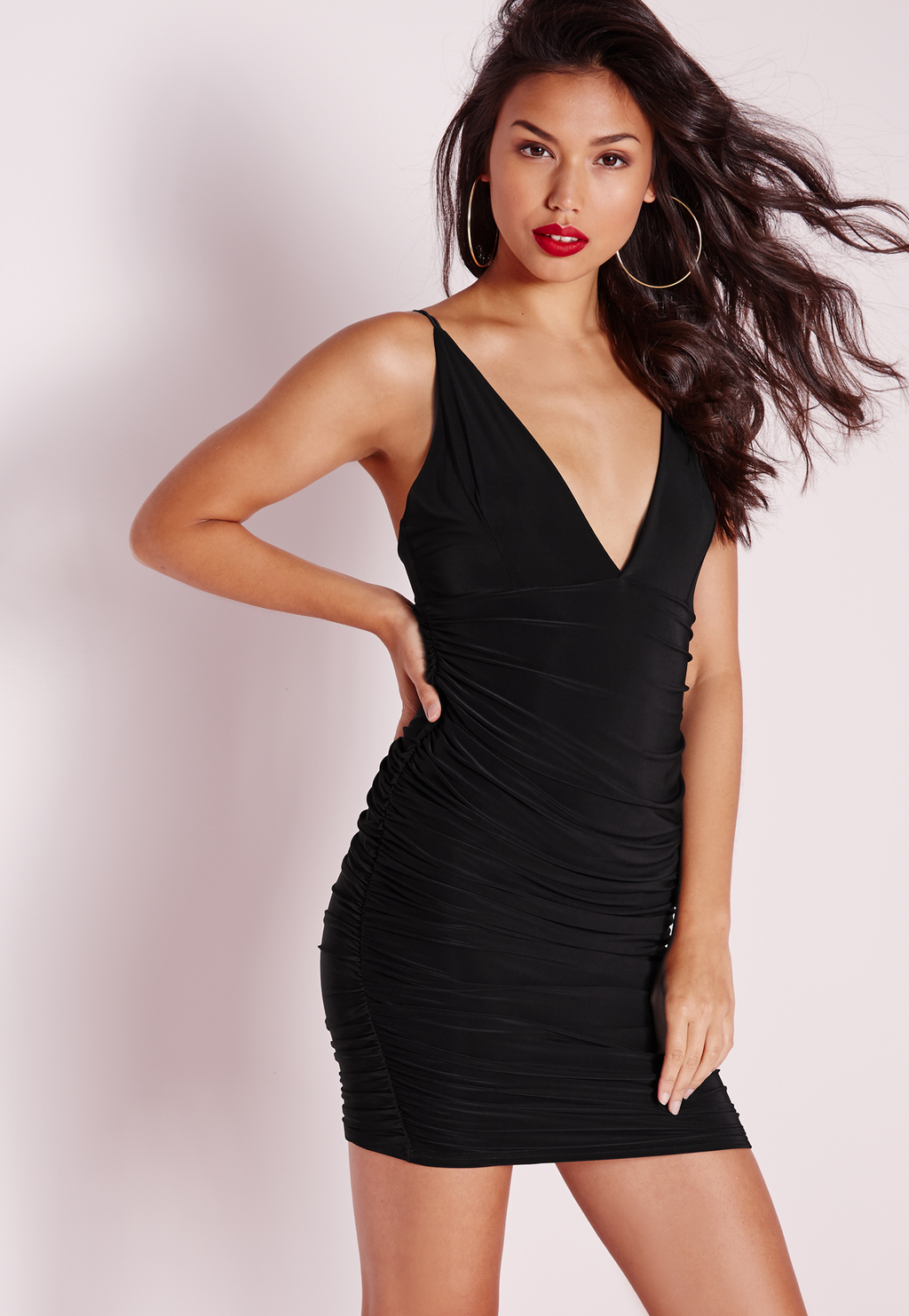Petite Slinky Double Strap Ruche Bodycon Dress Black, Black - length: mini; neckline: low v-neck; fit: tight; pattern: plain; sleeve style: sleeveless; style: bodycon; predominant colour: black; occasions: evening; fibres: polyester/polyamide - stretch; sleeve length: sleeveless; texture group: jersey - clingy; pattern type: fabric; season: s/s 2016; wardrobe: event