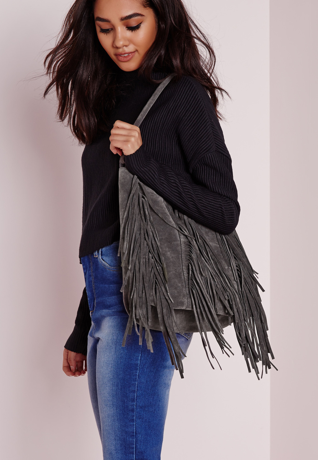 Multi Fringe Tote Bag Grey, Grey - predominant colour: charcoal; occasions: casual, creative work; type of pattern: standard; style: shoulder; length: shoulder (tucks under arm); size: oversized; embellishment: fringing; pattern: plain; finish: plain; material: faux suede; season: s/s 2016; wardrobe: investment