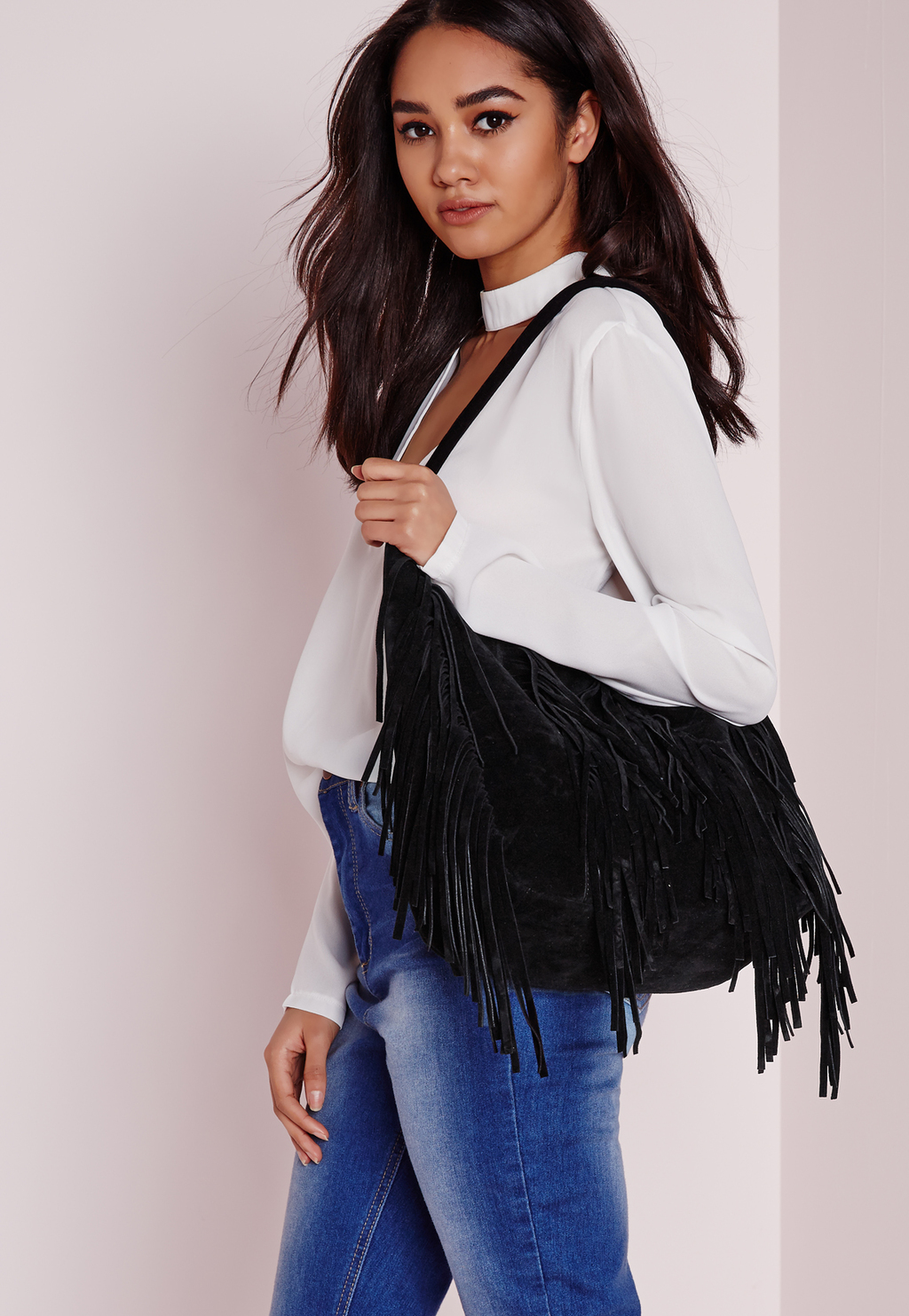 Faux Suede Tassel Shopper Bag Black, Black - predominant colour: black; occasions: casual, creative work; type of pattern: standard; style: shoulder; length: shoulder (tucks under arm); size: standard; embellishment: tassels; pattern: plain; finish: plain; material: faux suede; season: s/s 2016; wardrobe: investment