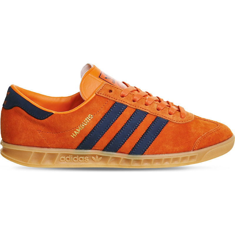 Hamburg Leather And Suede Low Top Trainers, Women's, Super Orange Gum - secondary colour: pale blue; predominant colour: bright orange; occasions: casual; material: suede; heel height: flat; toe: round toe; style: trainers; finish: plain; pattern: colourblock; shoe detail: moulded soul; season: s/s 2016; wardrobe: highlight