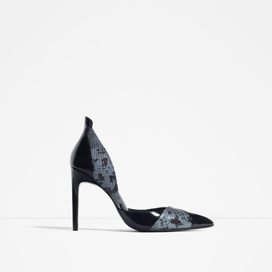 Contrast Print High Heel Shoes - secondary colour: denim; predominant colour: black; occasions: evening, occasion; material: faux leather; heel height: high; heel: stiletto; toe: pointed toe; style: courts; finish: patent; pattern: patterned/print; season: s/s 2016; wardrobe: event