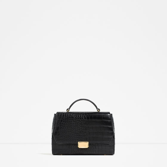 Mini City Bag - predominant colour: black; occasions: casual, work, creative work; type of pattern: standard; style: structured bag; length: hand carry; size: standard; material: faux leather; pattern: plain; finish: plain; season: s/s 2016; wardrobe: investment