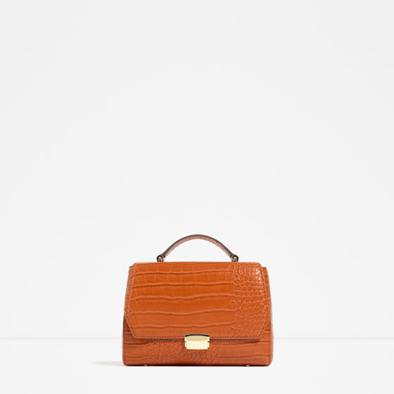 Mini City Bag - predominant colour: terracotta; occasions: casual, work, creative work; type of pattern: standard; style: structured bag; length: hand carry; size: standard; material: faux leather; pattern: plain; finish: plain; embellishment: chain/metal; season: s/s 2016; wardrobe: highlight