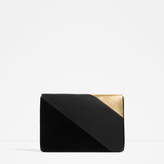 Contrast Material Clutch - secondary colour: gold; predominant colour: black; occasions: evening, occasion; type of pattern: standard; style: clutch; length: hand carry; size: standard; material: faux leather; finish: plain; pattern: colourblock; season: s/s 2016; wardrobe: event