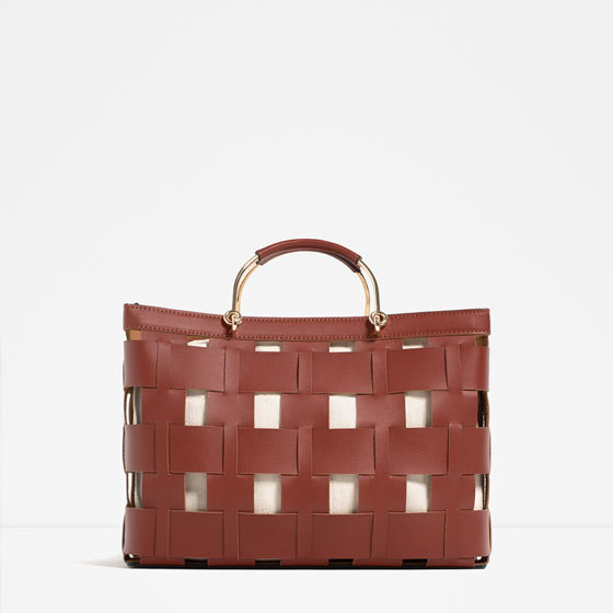 Basket Tote - predominant colour: tan; occasions: casual, creative work; type of pattern: light; style: tote; length: handle; size: oversized; material: faux leather; pattern: plain; finish: plain; embellishment: chain/metal; season: s/s 2016