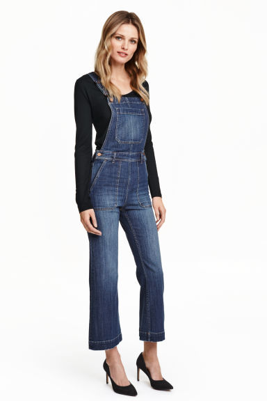Denim Dungarees - length: standard; sleeve style: standard vest straps/shoulder straps; fit: tailored/fitted; pattern: plain; predominant colour: denim; occasions: casual; fibres: cotton - mix; sleeve length: sleeveless; texture group: denim; style: dungarees; neckline: low square neck; pattern type: fabric; season: s/s 2016; wardrobe: highlight