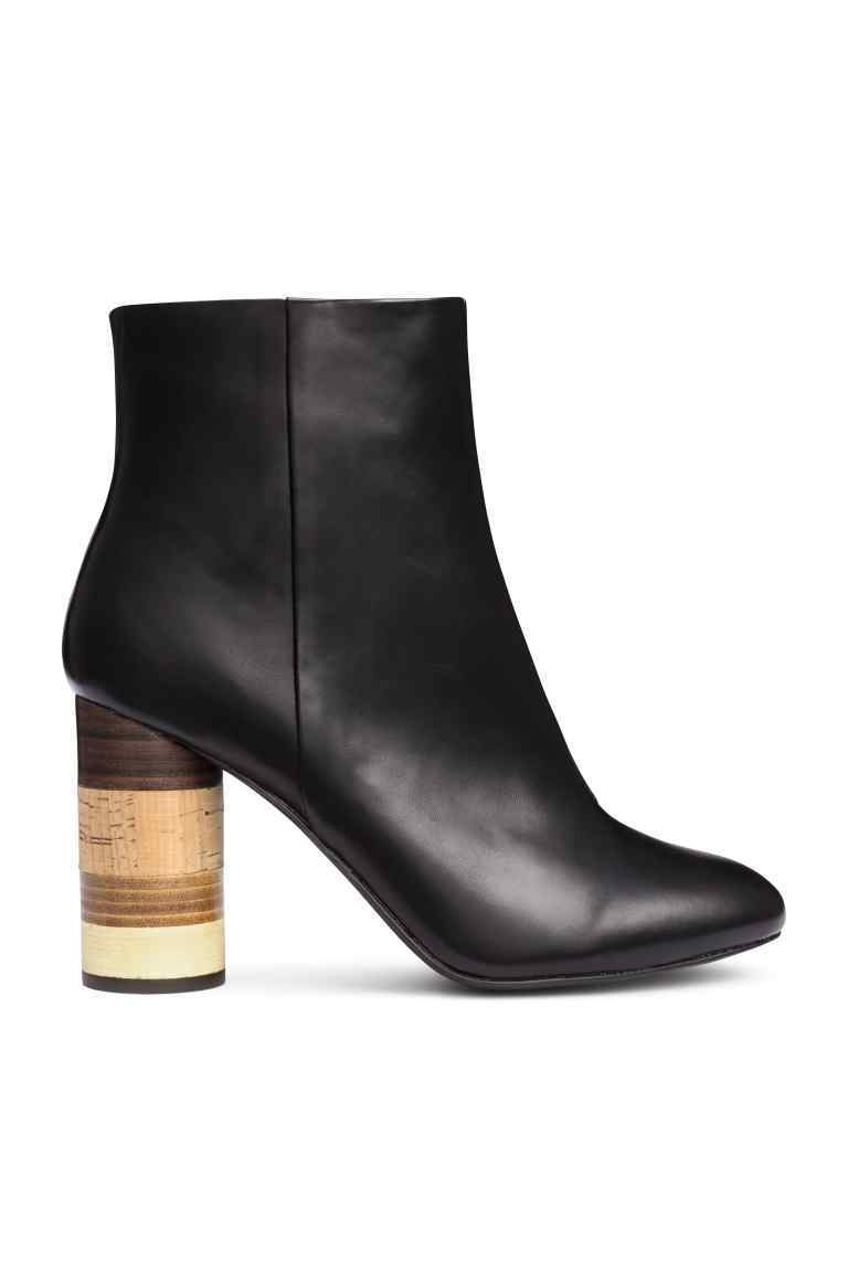 Ankle Boots With Wooden Heels - secondary colour: tan; predominant colour: black; occasions: casual, creative work; material: faux leather; heel height: mid; heel: block; toe: round toe; boot length: ankle boot; style: standard; finish: plain; pattern: striped; season: s/s 2016; wardrobe: highlight