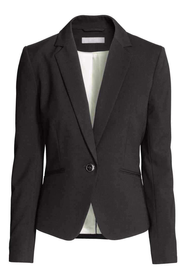 Fitted Jacket - pattern: plain; style: single breasted blazer; collar: standard lapel/rever collar; predominant colour: black; occasions: work, creative work; length: standard; fit: tailored/fitted; fibres: cotton - stretch; sleeve length: short sleeve; sleeve style: standard; texture group: cotton feel fabrics; collar break: medium; pattern type: fabric; season: s/s 2016; wardrobe: highlight