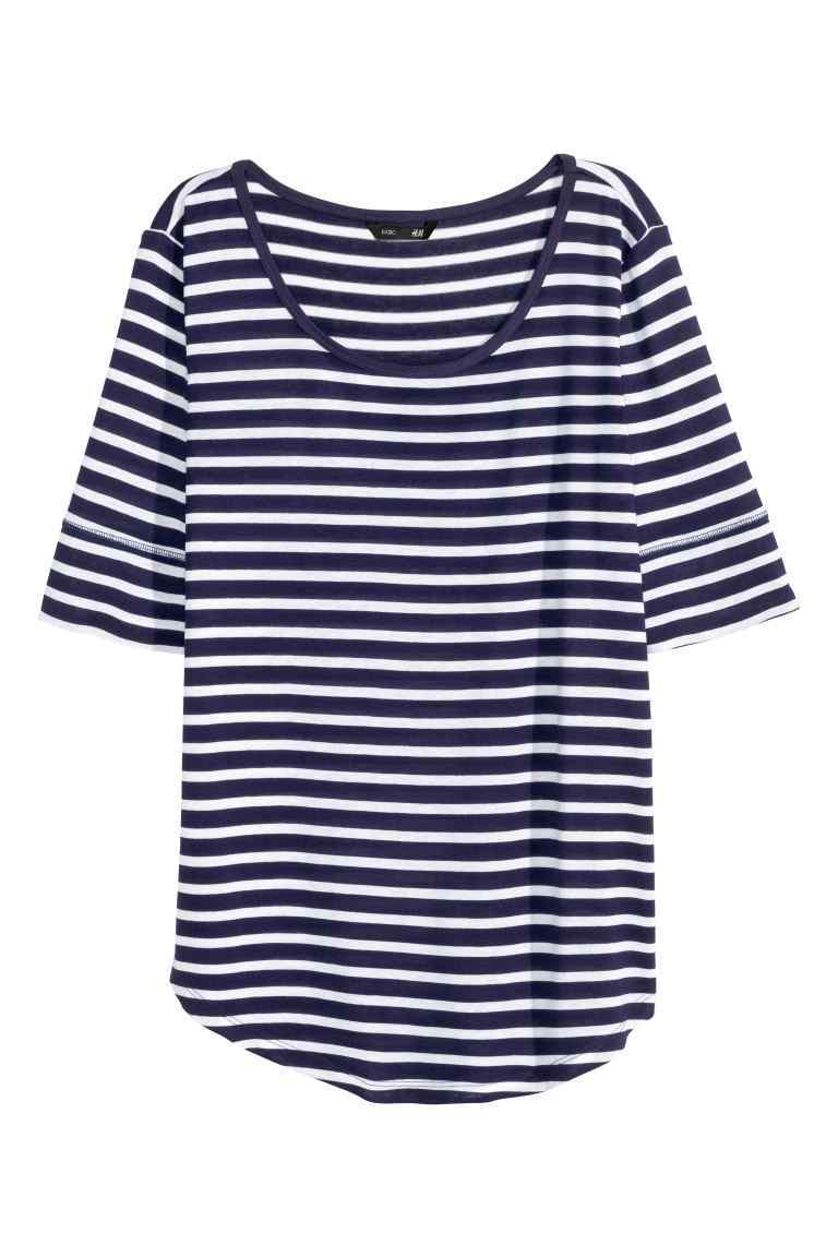 Jersey Top - neckline: round neck; pattern: horizontal stripes; secondary colour: white; predominant colour: navy; occasions: casual; length: standard; style: top; fibres: viscose/rayon - 100%; fit: body skimming; sleeve length: short sleeve; sleeve style: standard; pattern type: fabric; texture group: jersey - stretchy/drapey; multicoloured: multicoloured; season: s/s 2016; wardrobe: basic