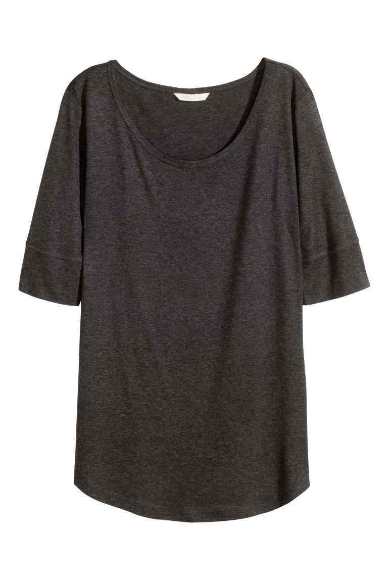 Jersey Top - neckline: round neck; pattern: plain; predominant colour: charcoal; occasions: casual; length: standard; style: top; fibres: viscose/rayon - 100%; fit: body skimming; sleeve length: half sleeve; sleeve style: standard; pattern type: fabric; texture group: jersey - stretchy/drapey; season: s/s 2016