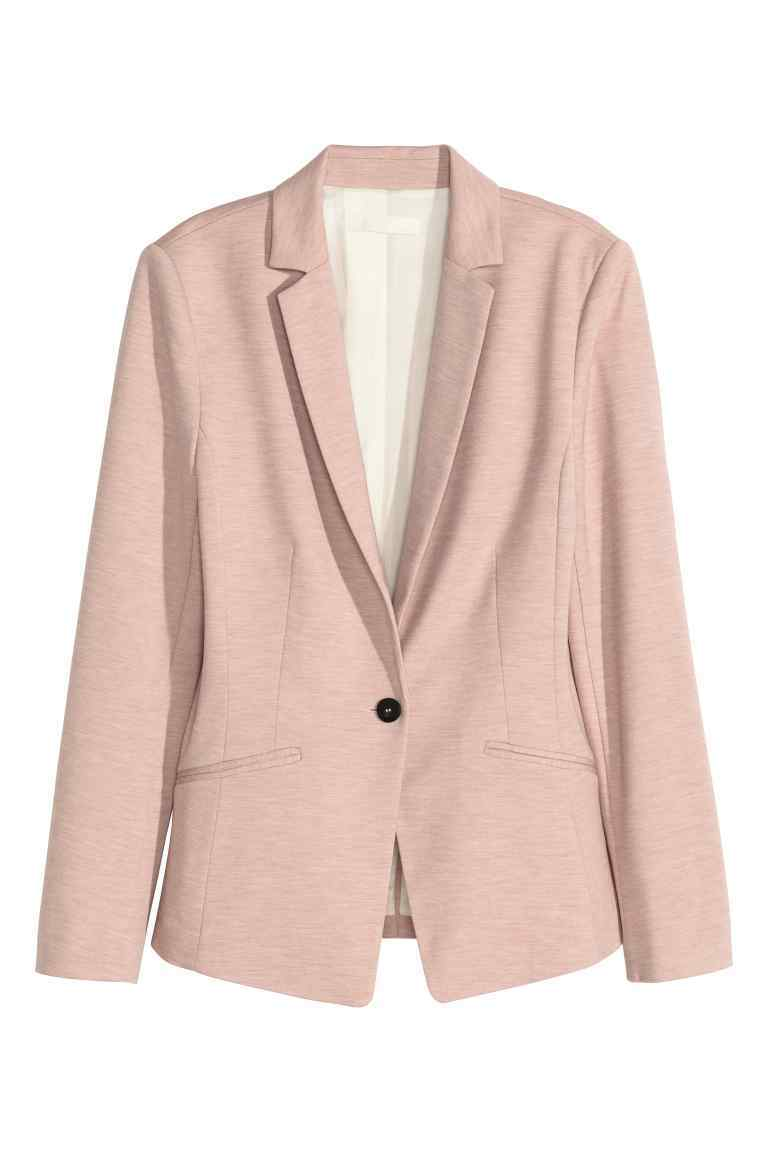 Jersey Jacket - pattern: plain; style: single breasted blazer; collar: standard lapel/rever collar; predominant colour: blush; occasions: casual, creative work; length: standard; fit: tailored/fitted; fibres: polyester/polyamide - 100%; sleeve length: long sleeve; sleeve style: standard; collar break: medium; pattern type: fabric; texture group: woven light midweight; season: s/s 2016; wardrobe: basic