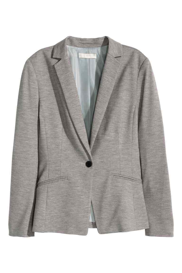 Jersey Jacket - style: single breasted blazer; collar: standard lapel/rever collar; predominant colour: mid grey; occasions: casual, creative work; length: standard; fit: tailored/fitted; fibres: cotton - 100%; sleeve length: long sleeve; sleeve style: standard; collar break: medium; pattern type: fabric; pattern size: light/subtle; texture group: woven light midweight; pattern: marl; season: s/s 2016; wardrobe: basic