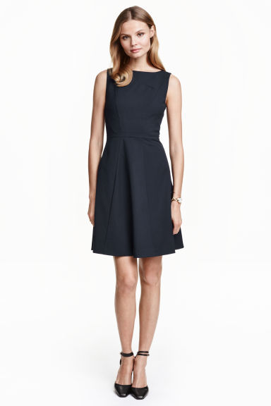 Bell Shaped Dress - length: mid thigh; neckline: slash/boat neckline; pattern: plain; sleeve style: sleeveless; predominant colour: navy; occasions: evening, creative work; fit: fitted at waist & bust; style: fit & flare; fibres: polyester/polyamide - 100%; hip detail: adds bulk at the hips; sleeve length: sleeveless; texture group: crepes; pattern type: fabric; season: s/s 2016; wardrobe: investment