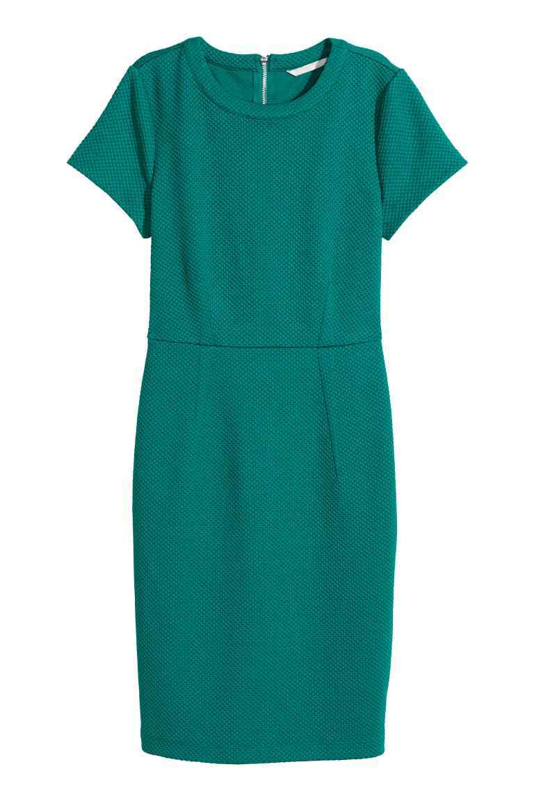 Textured Dress - style: shift; fit: tailored/fitted; pattern: plain; predominant colour: emerald green; occasions: casual, work, creative work; length: just above the knee; fibres: polyester/polyamide - 100%; neckline: crew; sleeve length: short sleeve; sleeve style: standard; texture group: crepes; pattern type: fabric; season: s/s 2016