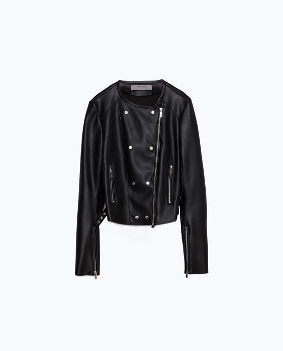 Tailored Jacket - pattern: plain; style: biker; collar: asymmetric biker; predominant colour: black; occasions: casual; length: standard; fit: straight cut (boxy); fibres: polyester/polyamide - 100%; sleeve length: long sleeve; sleeve style: standard; texture group: leather; collar break: high/illusion of break when open; pattern type: fabric; season: s/s 2016; wardrobe: basic